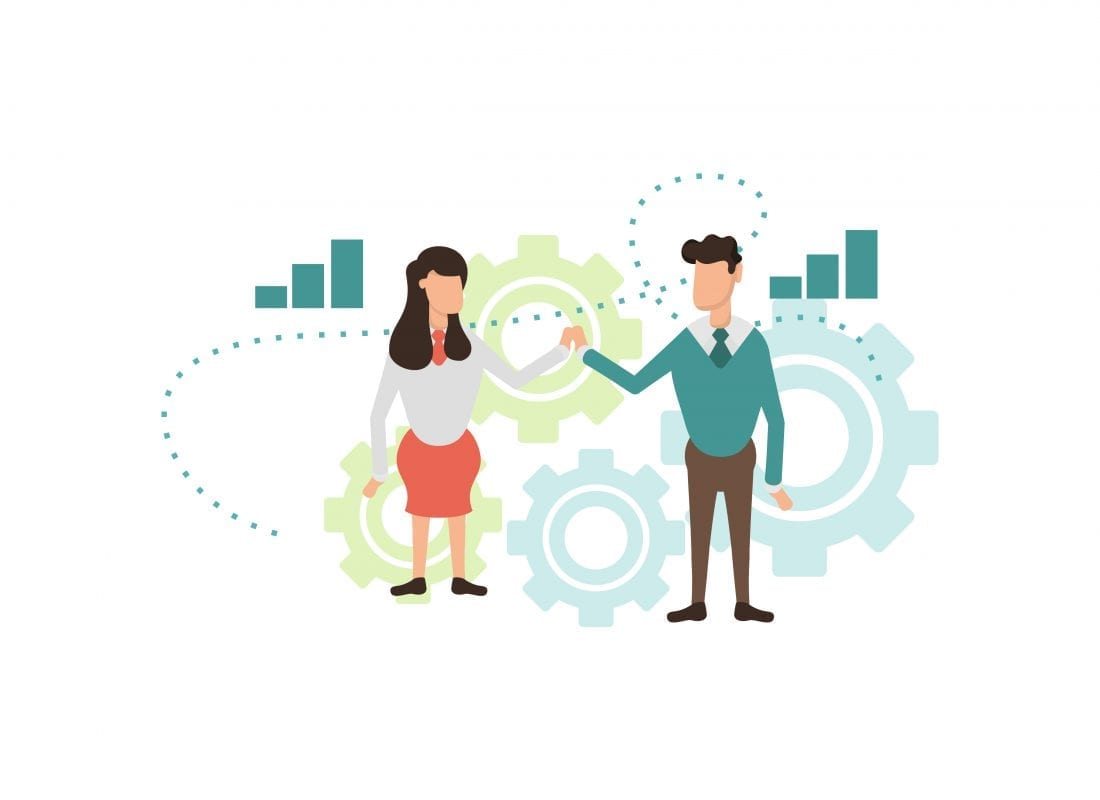 Digital Drawing Of A Man And Woman Holding Hands In Front Of Gears And Bar Graphs
