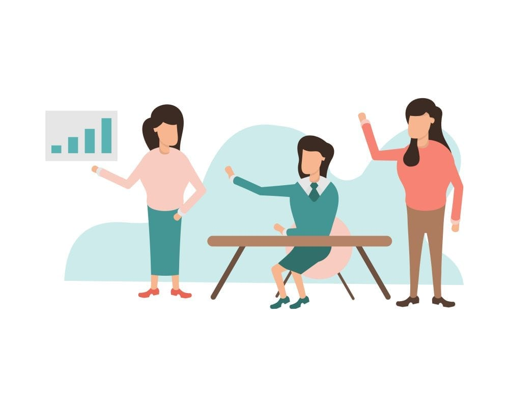Digital Drawing Of A Woman Giving A Presentation To Two Women Who Are Raising Their Hands