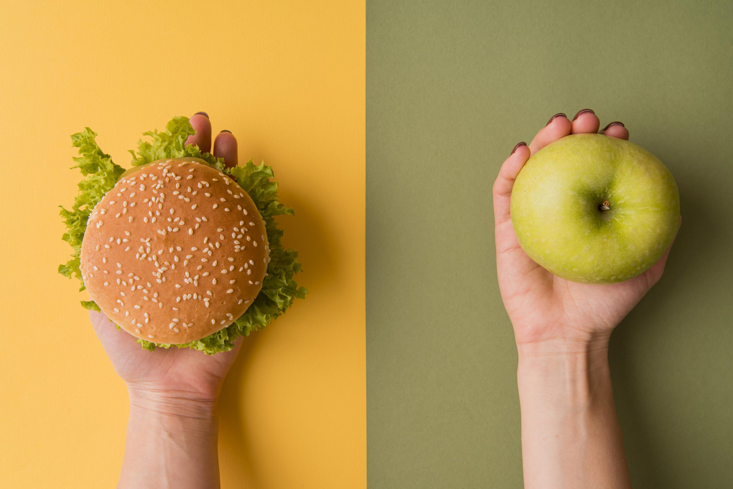 Hamburger and apple illustrate bad and good diet for kidneys