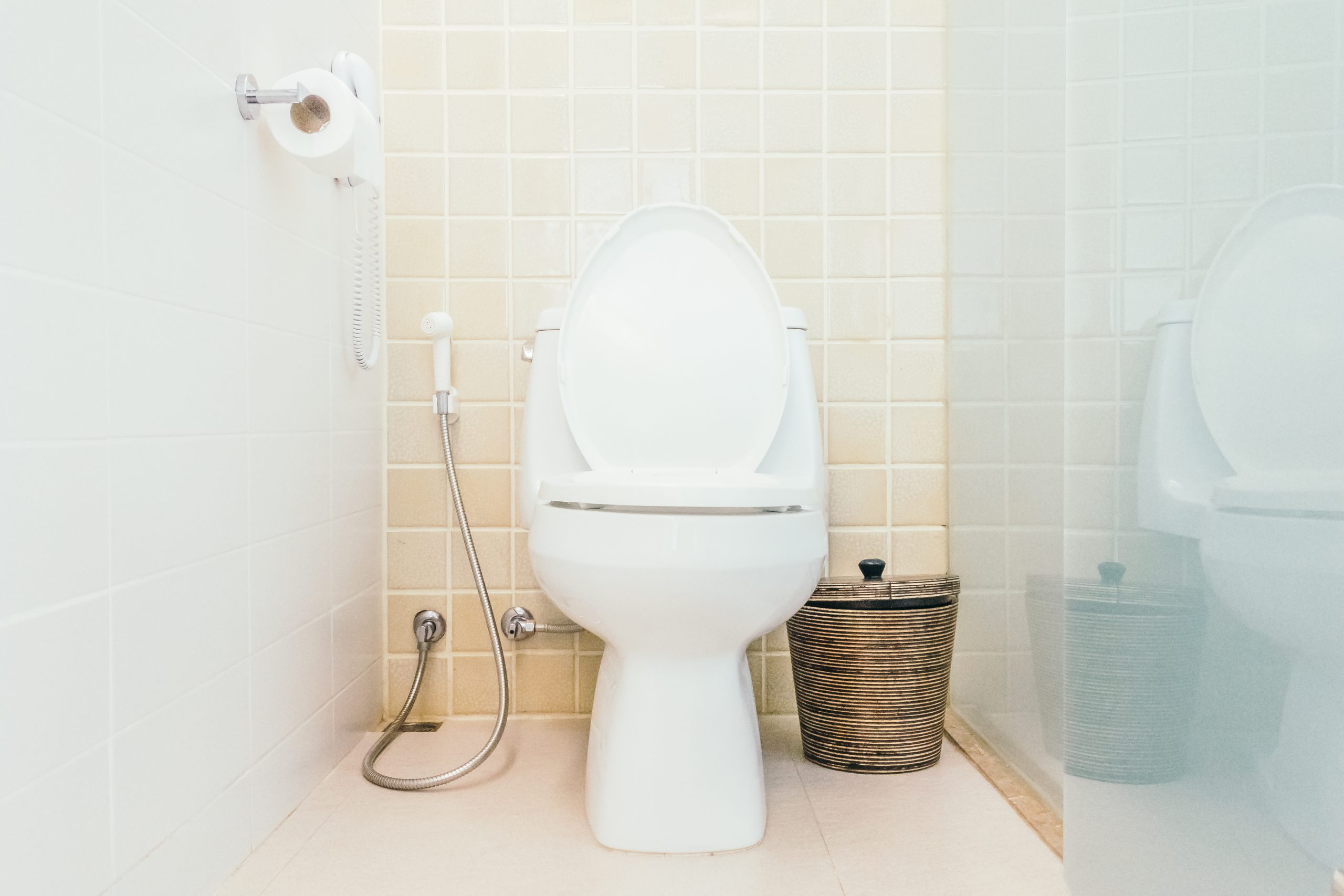 Toilet in bathroom for urinary or urination issues