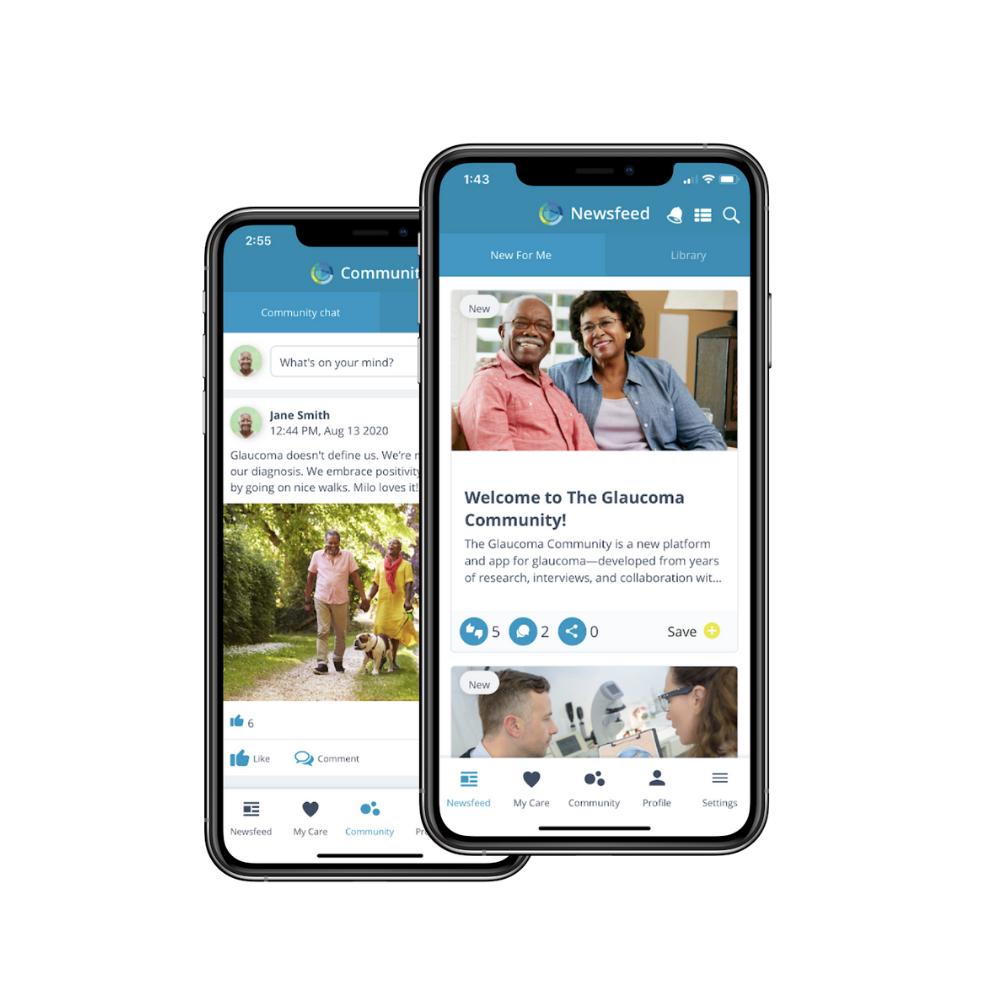 Two Smart Phones With The Glaucoma Community App On Their Screens